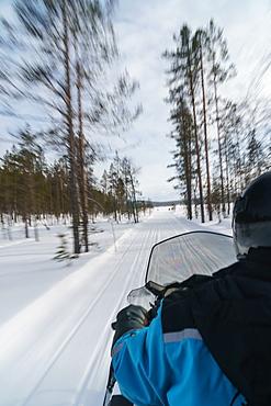 Senior woman traveler on snowmobile, speeding through the blurred trees, Torassieppi, Lapland, Northern Finland, Europe