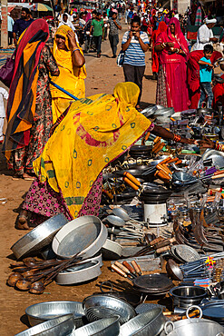 Rajasthani women in brightly coloured traditional clothing shopping for kitchen utensils, Pushkar Fair, Pushkar, Rajasthan, India, Asia