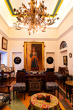 The Maharajah's study at the hunting lodge of the Maharajas of Jhalawar, now run by the family as Prithvi Vilas Palace Hotel, Jhalawar, Rajasthan, India, Asia