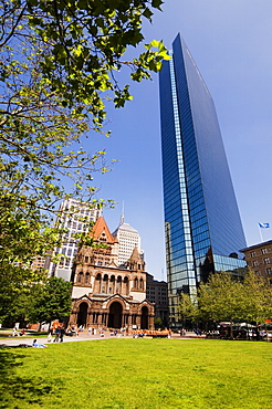 Trinity Church and the John Hancock Tower, Copley Square, Boston, Massachusetts, USA