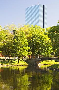 The Esplanade by the Charles River, John Hancock Tower behind, Boston, Massachusetts, USA