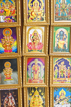 Pictures of various Hindu Gods for sale in Little India, Singapore, South East Asia