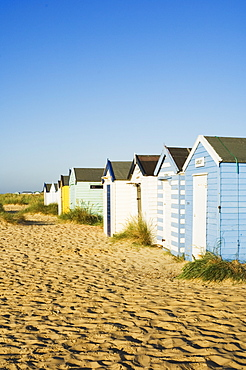 Old beach huts, Southwold, Suffolk, England, United Kingdom, Europe