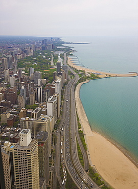 Aerial view looking north up Lakeshore Drive to the Gold Coast district, Chicago, Illinois United States of America, North America