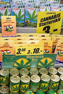 Cannabis seed starter kits, Bloemenmarkt (flower market), Amsterdam, Netherlands, Europe