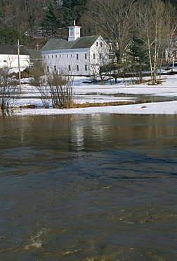 Melting snow results in water rising and threat of floods, Stowe, Vermont, New England, United States of America, North America