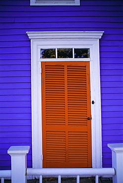 Louvre door, purple weatherboard house, Stonington, Connecticut, New England, USA, North America