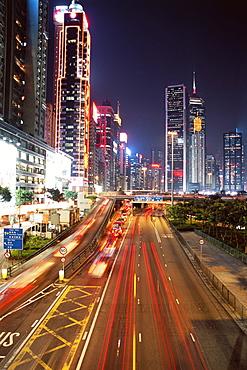 Gloucester Road at night, Causeway Bay, Hong Kong Island, Hong Kong, China, Asia