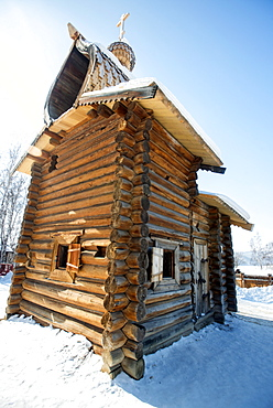 Kazan Chapel, dating from 1679 relocated to the Taltsy Museum of Architecture and Ethnography, near Irkutsk, Siberia, Russia, Eurasia