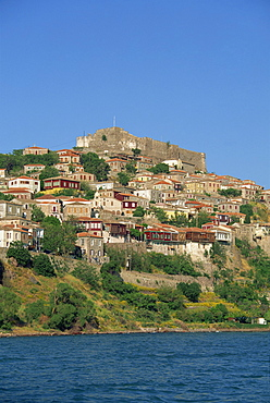 The town and castle on the skyline at Molyvos, on Lesbos, North Aegean Islands, Greek Islands, Greece, Europe