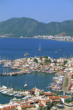 Low aerial view over the harbour and town of Marmaris, Anatolia, Turkey, Asia Minor, Eurasia