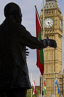 Nelson Mandela statue and Big Ben, Westminster, London, England, United Kingdom, Europe