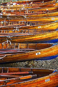 Rowing boats, Ambleside, Lake Windermere, Lake District National Park, Cumbria, England, United Kingdom, Europe