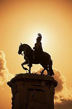 Statue, Black Horse Square (Praca do Comercio), Lisbon, Portugal, Europe