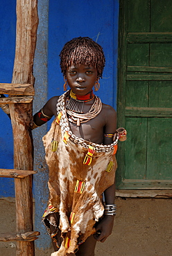 Hamer girl, Turmi market, Ethiopia, Africa