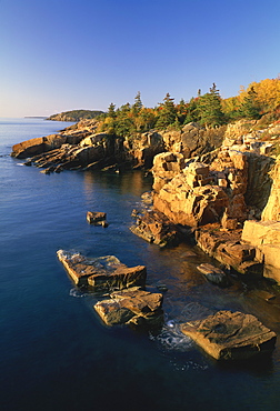 Rocks along the coastline in the Acadia National Park, Maine, New England, United States of America, North America