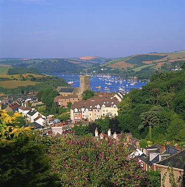 Aerial view over Salcombe, Devon, England, United Kingdom, Europe