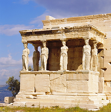 Porch of the Caryatids with figures of the Six Maidens, Erechtheion, Acropolis, Athens, Greece, Europe