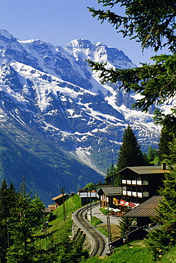 Alpine railway, Murren, Jungfrau region, Bernese Oberland, Swiss Alps, Switzerland, Europe