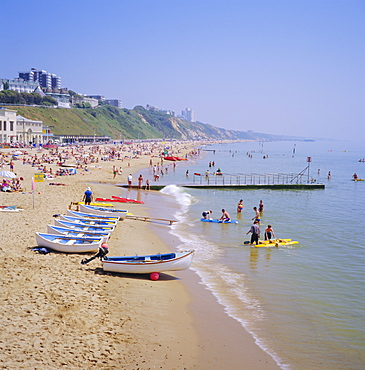 Beach and boats, Bournemouth, Dorset, England