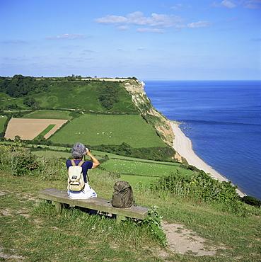 Coastal path, Salcombe Mouth, near Sidmouth, South Devon, England, United Kingdom, Europe