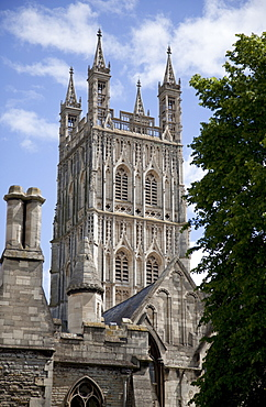 Cathedral tower from the northwest, Gloucester, Gloucestershire, England, United Kingdom, Europe