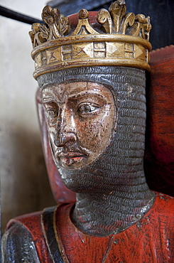 Oak effigy of Robert, Duke of Normandy, died 1134, son of William the Conqueror, Gloucester Cathedral, Gloucestershire, England, United Kingdom, Europe