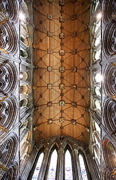 Interior of timber roof of Choir, St. Mungo's Cathedral, Glasgow, Scotland, United Kingdom, Europe