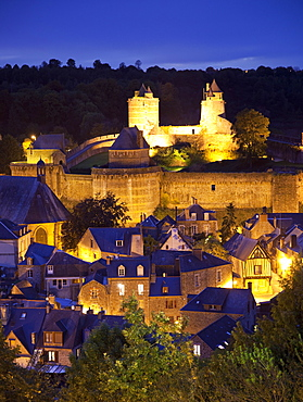 Castle and old town at night, Fougeres, Brittany, France, Europe