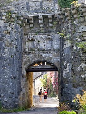 Old city gate, Vezelay, Burgundy, France, Europe