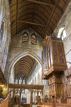 Nave and organ from the choir, Dunblane Cathedral, Dunblane, Stirling, Scotland, United Kingdom, Europe