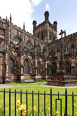 Chester Cathedral, tower from Southwest, Chester, Cheshire, England, United Kingdom, Europe