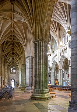 Nave and South Aisle looking North West, Exeter Cathedral, Exeter, Devon, England, United Kingdom, Europe