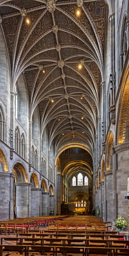 Nave looking East, Hereford Cathedral, Herefordshire, England, United Kingdom, Europe