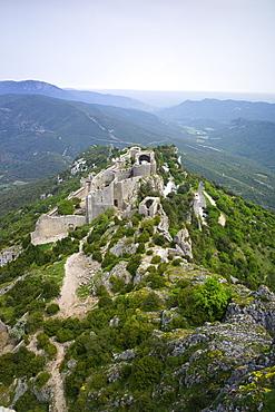Peyrepertuse Cathar castle, French Pyrenees, France, Europe