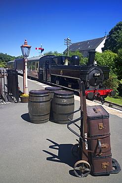 A steam train approaches Staverton Station on the South Devon Railway, Staverton, Devon, England, United Kingdom, Europe
