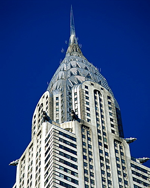 Close-up of the top of the Chrysler Building in New York, United States of America, North America