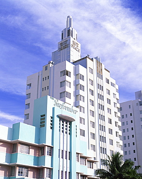 The Surfcomber and Ritz Plaza Hotels, Ocean Drive, Art Deco District, Miami Beach (South Beach), Miami, Florida, United States of America, North America