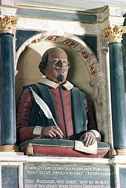 William Shakespeare's bust, Holy Trinity church, Stratford upon Avon, Warwickshire, England, United Kingdom, Europe