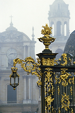 Restored gilded wrought iron work and lamp by Lamor in the Place Stanislas in Nancy, UNESCO World Heritage Site, Lorraine, France, Europe