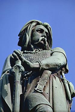 Close-up of statue of Vercingetorix, at Alise-Ste-Marie, in Bourgogne, France, Europe