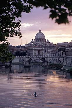 Skyline of St. Peter's from Ponte Umberto, Rome, Lazio, Italy, Europe