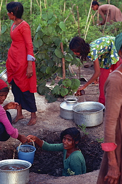 Collecting water for agriculture, Maldive Islands, Asia