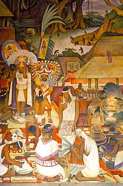 Diego Rivera mural at National Palace, 'Zapotec Civilization', Zapotec and Mixtec artisans and gold production, Mexico City, Mexico, North America