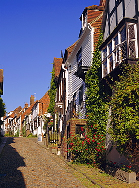 Houses on a cobbled street, Rye, Sussex, England, UK, Europe