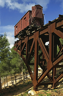 A railway wagon from Auschwitz on part of an iron bridge at the Memorial of the Holocaust, Yad Vashem, in Jerusalem, Israel, Middle East