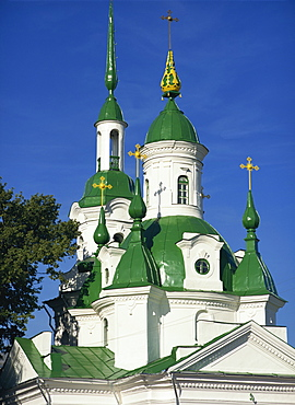 Russian Orthodox Church with green painted panels on roof and spires, Parnu, Estonia, Baltic States, Europe