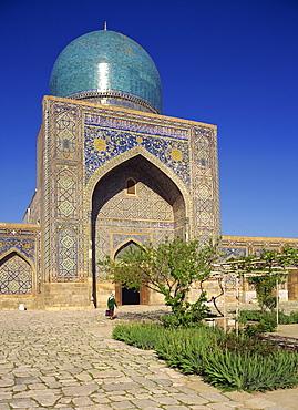 The mosque in the Tilla Kari Madrasah in Registan Square, Samarkand, Uzbekistan, Central Asia, Asia