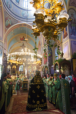 Saturday mass at the Trinity Russian Orthodox Church in the Russian Compound, Jerusalem, Israel, Middle East