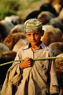 Portrait of a young shepherd boy, Northern Territory, Pakistan, Asia